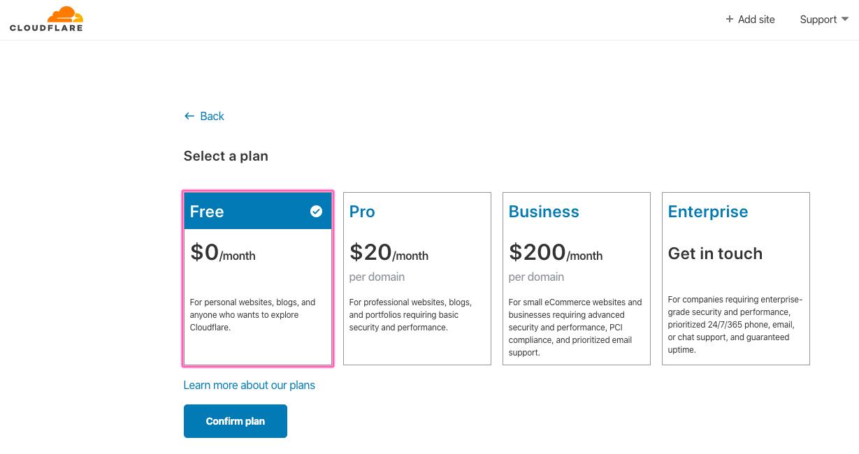 Escolher plano Free Cloudflare